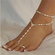 Perla Brazalete tobillo Sandalias Étnicas - Perla Bola Bikini, Moda Blanco / Blanco Para Playa / Bikini / Mujer