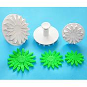 cuatro c-cortadores de émbolo áfrica margarita / girasol fondant de decoración de tortas, cortadoras sugarcraft, herramientas de