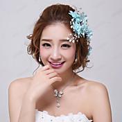 Mujer Niña de flor Cristal Aleación Perla Artificial Tejido Celada-Boda Ocasión especial Flores Pasador de Pelo 3 Piezas