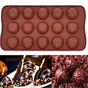 15 hoyos molde de la torta de mousse de chocolate molde de silicona para hornear (chocolate y vuelta) (color al azar)