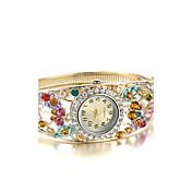 아가씨들 패션 시계 팔찌 시계 모조 다이아몬드 시계 석영 모조 다이아몬드 합금 밴드 뱅글 우아한 골드