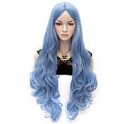 Syntetiske parykker Bølget Krop Bølge tetthet Lokkløs Dame Blå Veldig lang Syntetisk hår