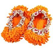 zapatillas chenille trapear el piso de zapatos perezosos de naranja cubierta