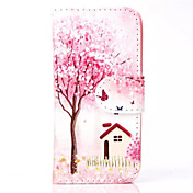 patrón de flor de durazno de la PU caja del teléfono de cuero para el iphone 5c