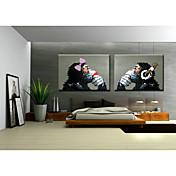 손으로 그린 동물 폽 수평,클래식 전통적 2판넬 항으로 그린 유화 For 홈 장식