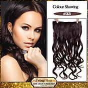 5 clips ondulado castaño oscuro (# 33) pinza de pelo sintético en extensiones de cabello para damas más colores disponibles
