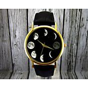 Mujer Reloj de Moda Cuarzo Fase lunar Piel Banda Elegant Negro Marrón