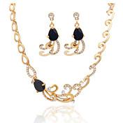 여성 크리스탈 사치 패션 결혼식 파티 일상 캐쥬얼 지르콘 모조 다이아몬드 합금 귀걸이 목걸이
