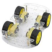de doble capa 4-motor chasis del automóvil inteligente w medición codificado disco / velocidad - negro + amarillo