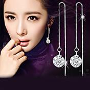 Hombre Mujer Diamante sintético Plata de ley Cristal Plata Diamante Sintético Pendientes colgantes - Elegant Moda Plata Bola Aretes Para