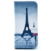 la torre Eiffel y la muchacha de la PU de cuero de pie cubierta de la caja con ranura para tarjeta para el iphone 6 / 6s 4,7 pulgadas