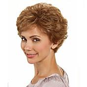 Syntetisk hår Parykker Bølget Med lugg Kort Brun