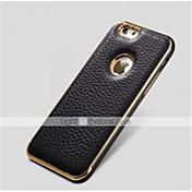 spesielle design metall støtfanger ramme ekte skinn bakdekselet for iphone 6 pluss (assorterte farger)