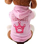 고양이 / 개 후드 핑크 강아지 의류 모든계절/가을 티아라 & 왕관 귀여운 / 패션