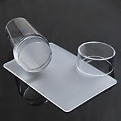 투명 스탬프 네일 아트 분명 젤리 스탬프 스크레이퍼는 폴란드어 스탬프 매니큐어 도구 설정