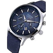 Hombre Cuarzo Reloj de Pulsera Calendario / Cool Piel Banda Moda Negro / Blanco / Azul