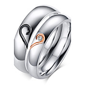 Mujer Zirconio / Titanio Acero / Chapado en Oro Corazón Alianzas / Anillo de banda - Amor / Piedras Plata anillo Para Boda / Fiesta /
