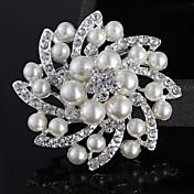 Mujer Broche - Perla, Perla Artificial, Plateado Flor Lujo, Doble capa, Moda Broche Plata Para Boda / Fiesta / Casual / Diamante Sintético