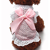 고양이 / 개 드레스 블루 / 핑크 강아지 의류 여름 / 모든계절/가을 리본매듭 / 도트 무늬 패션