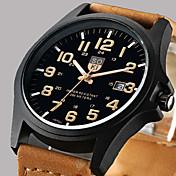 Hombre Reloj de Pulsera Calendario Piel Banda Casual / Moda Marrón / Verde / Caqui