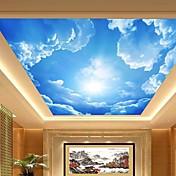 3d efecto de cuero shinny gran vestíbulo de techo de cielo azul y las nubes mural pintado pintura del techo decoración de arte