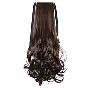 ondas largas colas de caballo agua marrón cola de caballo vendaje estilo peluca de pelo rizado