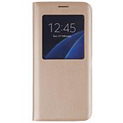 Funda Para Samsung Galaxy Samsung Galaxy S7 Edge con Ventana Flip Funda de Cuerpo Entero Color sólido Dura Cuero de PU para S7 edge S7 S6