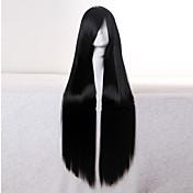 Pelucas sintéticas Recto Negro Mujer Sin Tapa Peluca de carnaval Peluca de Halloween negro peluca Pelo sintético Diario