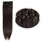 """pinza de pelo barato en extensiones de pelo sintético 22 """"7pcs / set # 4 oscuro marrón resistencia al calor del color del pelo recto 100g"""