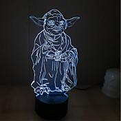 yoda 터치 디밍 3d 주도 밤 빛 7colorful 장식 분위기 램프 참신 조명 조명