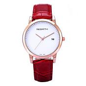 REBIRTH Mujer Reloj de Pulsera Reloj de Moda Cuarzo Calendario PU Banda Casual Minimalista Negro Rojo Marrón