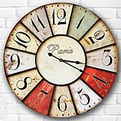 Moderno/Contemporáneo Familia Reloj de pared,Redondo Madera 34*34*3cm Interior Reloj