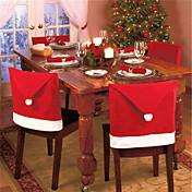 4pcs de la manera casquillo de santa cláusula sombrero rojo silla Mobiliario de la contraportada de mesa de la cena de Navidad del
