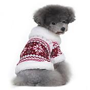 Hund Frakker Gensere Hundeklær Snøfnugg Svart Rød Bomull Kostume For kjæledyr Herre Dame Klassisk Hold Varm