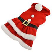Hund Kostume Kjoler Hundeklær Ensfarget Rød Bomull Kostume For kjæledyr Dame Cosplay Jul
