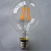 1pc 500-550lm E26 / E27 Bombillas de Filamento LED G80 6 Cuentas LED COB Decorativa Blanco Cálido Amarillo 220-240V