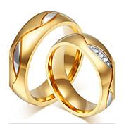 Pareja Cristal Acero inoxidable Brillante Chapado en Oro Oro de 18 K Alianzas - Personalizado Lujo Moda Adorable Negro Dorado anillo Para
