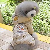 Perro Abrigos Saco y Capucha Mono Ropa para Perro Letra y Número Gris Verde Algodón Disfraz Para mascotas Hombre Mujer Casual/Diario Moda