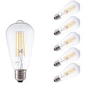 E26/E27 Bombillas de Filamento LED ST58 4 leds COB 600lm Blanco Cálido 2700K Regulable Decorativa AC 100-240