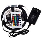 RGB LED stripe 5m 300 3528smd fleksibel lys ledet tape partiet dekorasjon lamper DC12V 3a strømadapter ir fjernkontroll