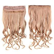 Clip en extensiones del pelo rizado 60cm 1pc 24inch # postizos 18/613 color mezclado rizar las extensiones de cabello sintéticas largas