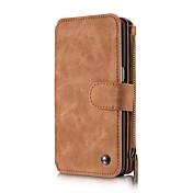 Etui Til Samsung Galaxy Samsung Galaxy Etui Kortholder Lommebok med stativ Flipp Magnetisk Heldekkende etui Helfarge Hard ekte lær til