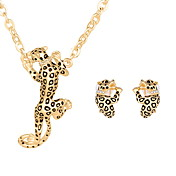 Legierung Forma de Animal Leopardo Dorado Plata 1 Par de Pendientes Collares Para Boda Fiesta Diario Casual 1 Set Regalos de boda