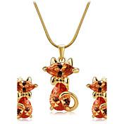 Mujer Cristal Circonita Zirconia Cúbica Conjunto de joyas 1 Collar 1 Par de Pendientes - Estilo lindo Gato Animal Juego de Joyas Para