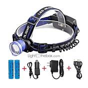 U'King Linternas de Cabeza Faro Delantero LED 2000 lm 3 Modo LED con pilas y cargadores Zoomable Despertador Enfoque Ajustable Tamaño