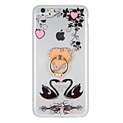 Funda Para Apple iPhone 7 Plus iPhone 7 Diamantes Sintéticos Soporte para Anillo Manualidades Funda Trasera Flor Animal Dura Acrílico para