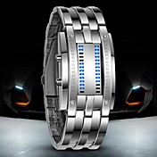 Hombre Reloj de Pulsera / Reloj digital Resistente al Agua / LED Acero Inoxidable Banda Lujo Negro / Plata