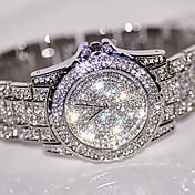 Dame Paveklokke Simulert Diamant Klokke Unike kreative Watch Armbåndsur Selskapsklokke Moteklokke Kinesisk Quartz Rhinstein / Rustfritt