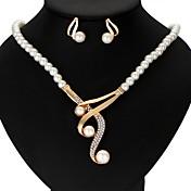 Mujer Juego de Joyas Perla artificial Legierung Forma de Corona Cintas Boda Fiesta Aniversario Regalo Casual Enamorado 1 Collar 1 Par de