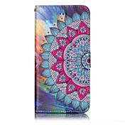 Etui Til Apple iPhone 7 Plus iPhone 7 Kortholder Lommebok Mønster Inngravert Heldekkende etui Mandala Hard PU Leather til iPhone 7 Plus